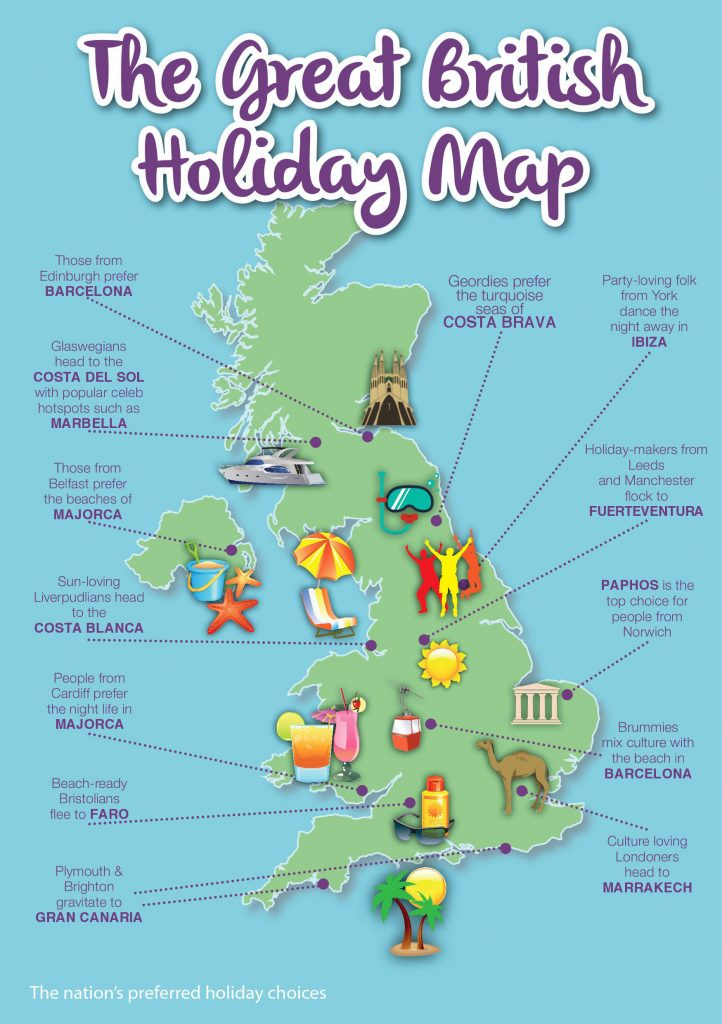 HOLIDAY MAP OF THE UK