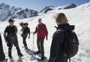 James Cameron filming at Tasman glacier