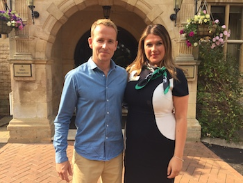Oksana Terlecka, front of house manager at Barnsdale Hall Hotel, with Jonnie Irwin, presenter of BBC TV's Escape to the Country