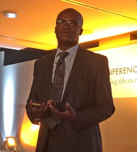 Kriss Akabusi addresses the RDO conference