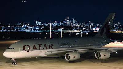 The Qatar Airways A380 on the ground in Sydney