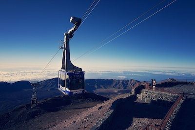 Riding the cable car on Mount Teide