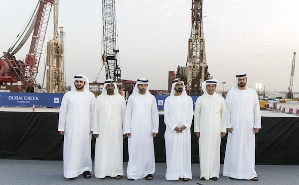 HH Sheikh Mohammed (fourth from left) breaks ground on future icon The Tower at Dubai Creek Harbour. Credit: PRNewsFoto/Emaar Properties
