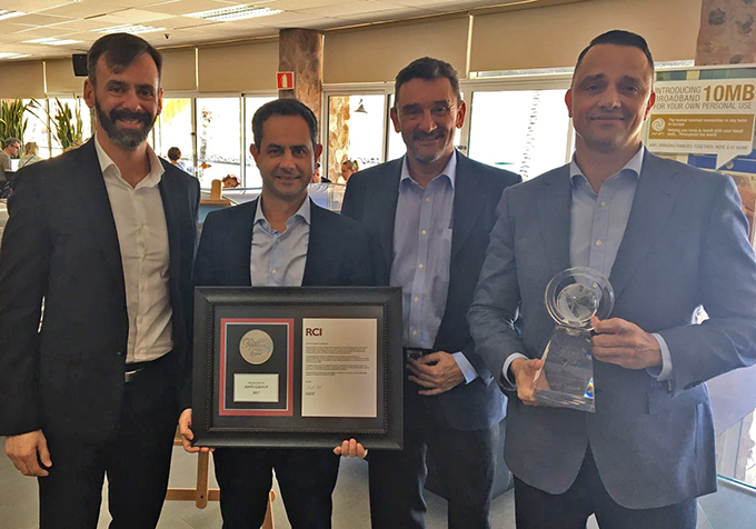 Pictured at the presentation of the President's Award, are from left: Carlos Moreno, RCI's affiliate services manager; Carlos Valido, financial controlling director, Anfi Group; Ovidio Zapico, RCI's regional director for South-West Europe; and Stefan Mende, sales director, Anfi Group