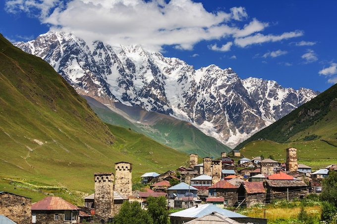 Svaneti in the southern Greater Caucasus mountain range of Georgia