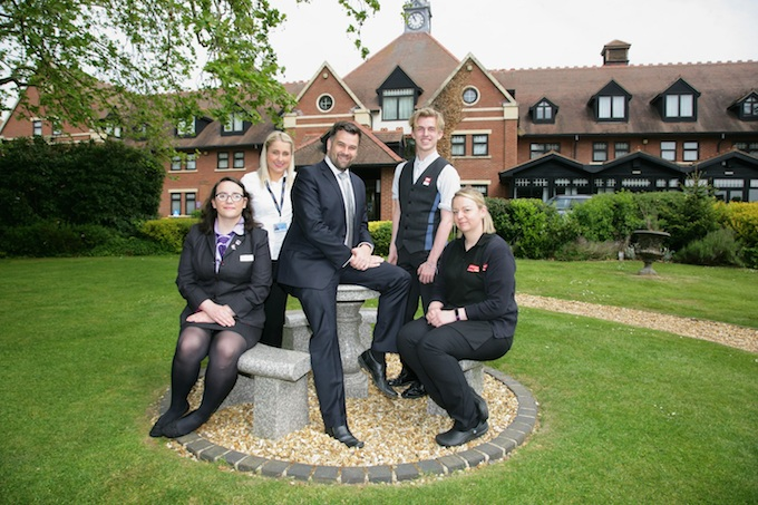 Chris Steadman, centre, with young workers from the participating companies, from left: Hannah Coote, The Stratford Hotel; Lucy Baird, Birmingham Airport; George Sothcott, RSC; and Anneka Sharp, Shakespeare Birthplace Trust
