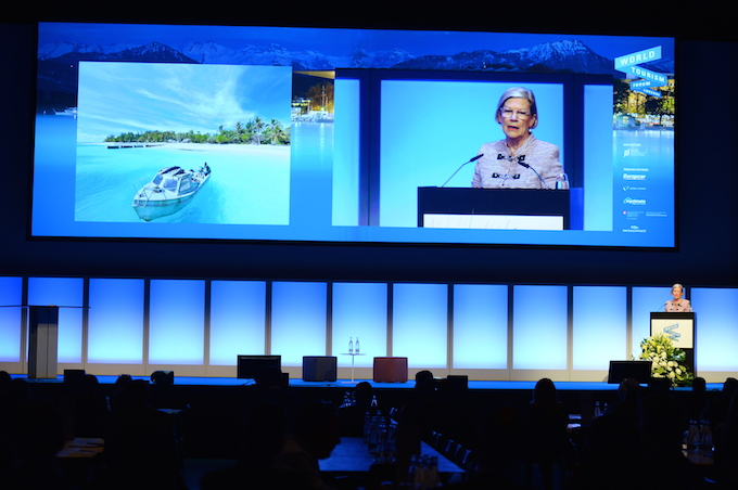 Ann Sherry addresses the World Tourism Forum in Lucerne
