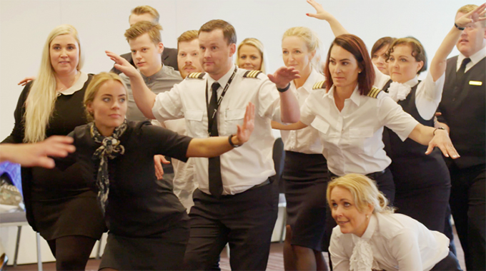 The Icelandair stage school in full flight
