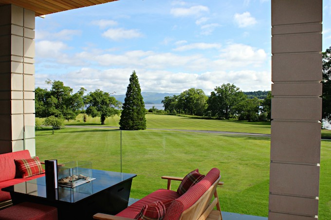 View of Loch Lomond from Great Scots Bar Terrace at Cameron House