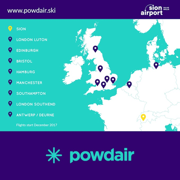powdair will connect Sion with eight destinations in Europe
