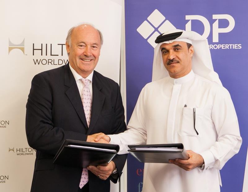 Rudi Jagersbacher, president, Middle East & Africa, Hilton Worldwide with Mohammed Al Habbai, DPG's chief officer of urban planning, pictured when the companies agreed to build the property