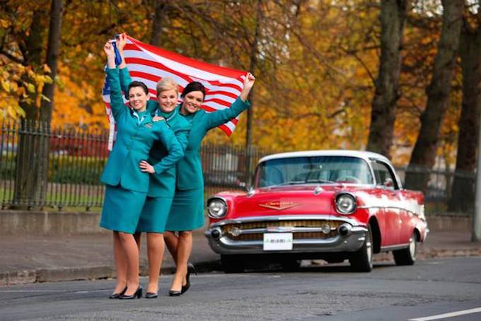 Aer Lingus cabin crew celebrate the launch of the new service. Credit: Jason Clarke