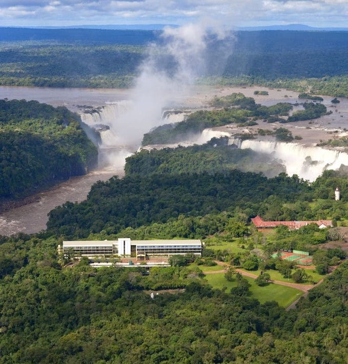 The hotel with Iguazu Falls in the background