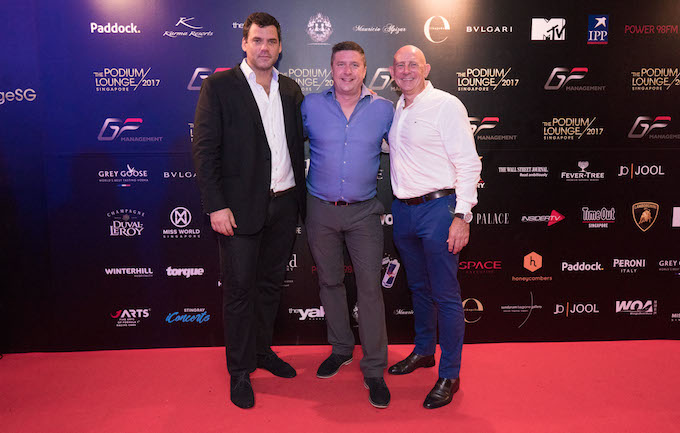 From left: Robbie Hoyes-Cock, CEO and founder, The Podium Lounge; David Croft, SKY Sports F1 presenter and Karma Resorts Ambassador; and Iain McCormack, Group Director – Resort Operations, Karma Resorts